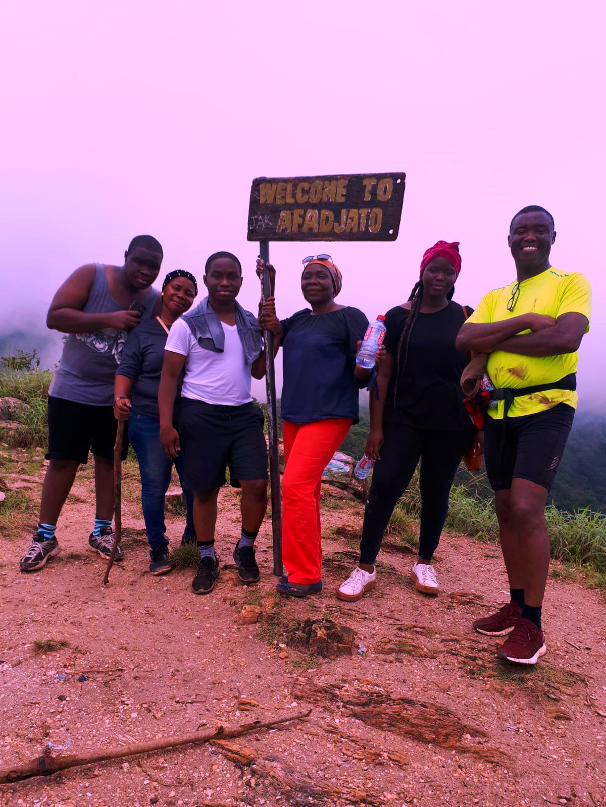 "A wonderful family from Germany spotted enjoying their tour on the highest mountain in West Africa. ""Mountain Afadjato"" in Ghana."