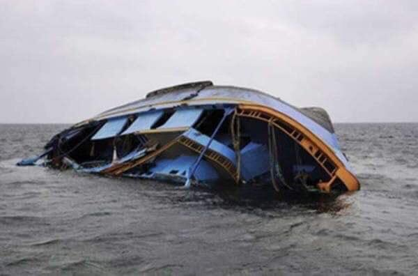 The capsized party boat in Uganda, in the district of Mukono