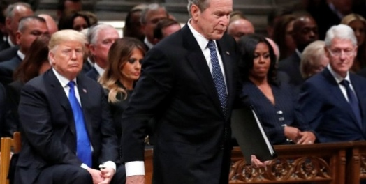 George W Bush in sad mood because H. W Bush is gone forever; which is the old man's old man is gone