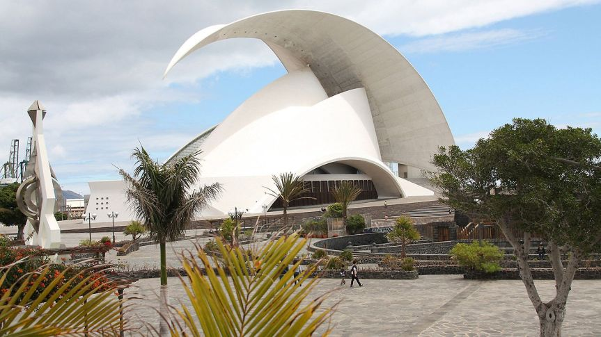 Auditorio de Tenerife on the coast of the Atlantic is emblematic of Spanish architecture
