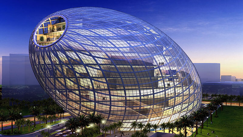 Blending a natural shape with innovative technologies, this exclusive poultry-inspired office building is an architectural wonder for the visitors. The building is designed by a firm based in Hong Kong.