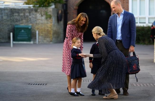 Handshake from School Head Mistress to Princess Charlotte