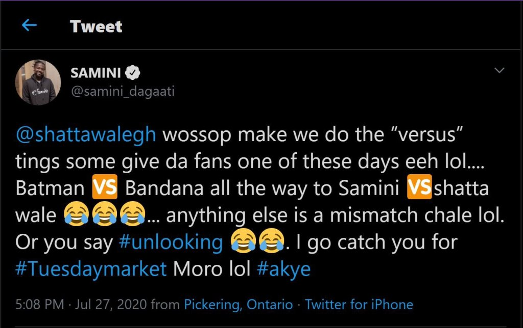 A frame of Samini's tweet