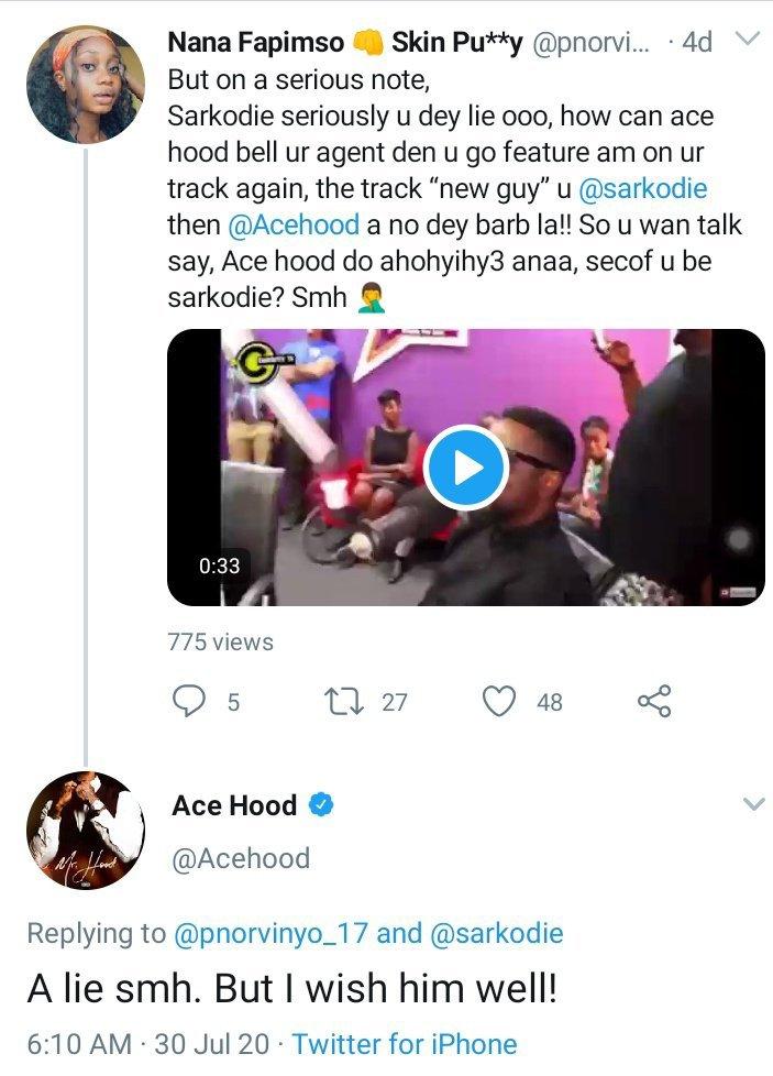 In the frame is Acehood tweet