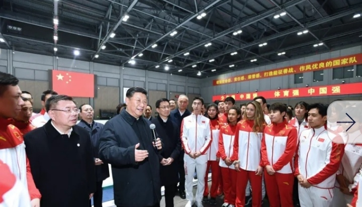 President Xi Jinping meets members of China's winter sports team