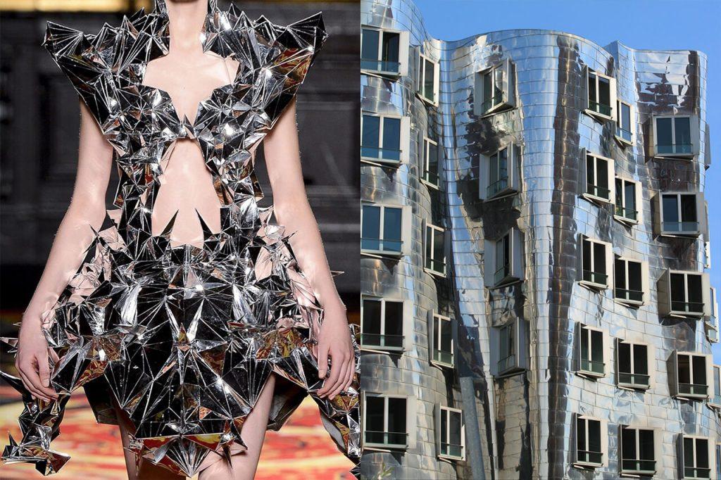 Mirror dress, Haute Couture Spring 2013, Iris van Herpen & Mirror building, Dusseldorf, Frank Gehry