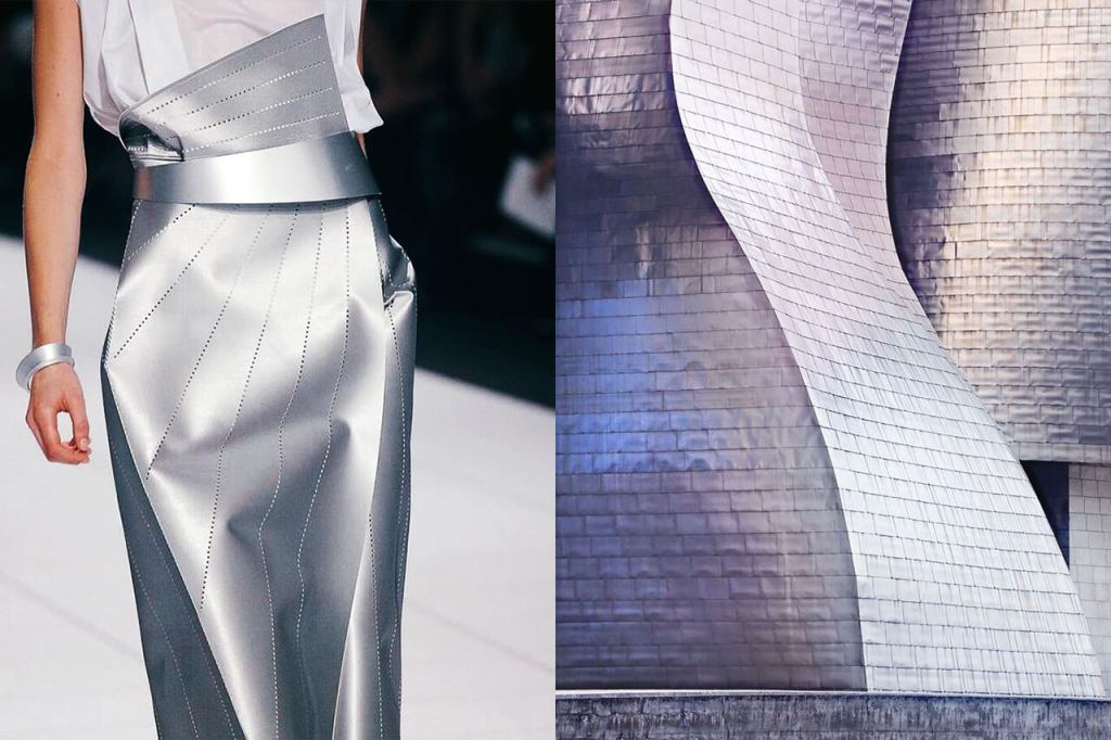Silver leather skirt with sharp angles, crisp folds & perforated line patterns, SS14, Issey Miyake & Guggenheim Museum Bilbao, Frank Gehry