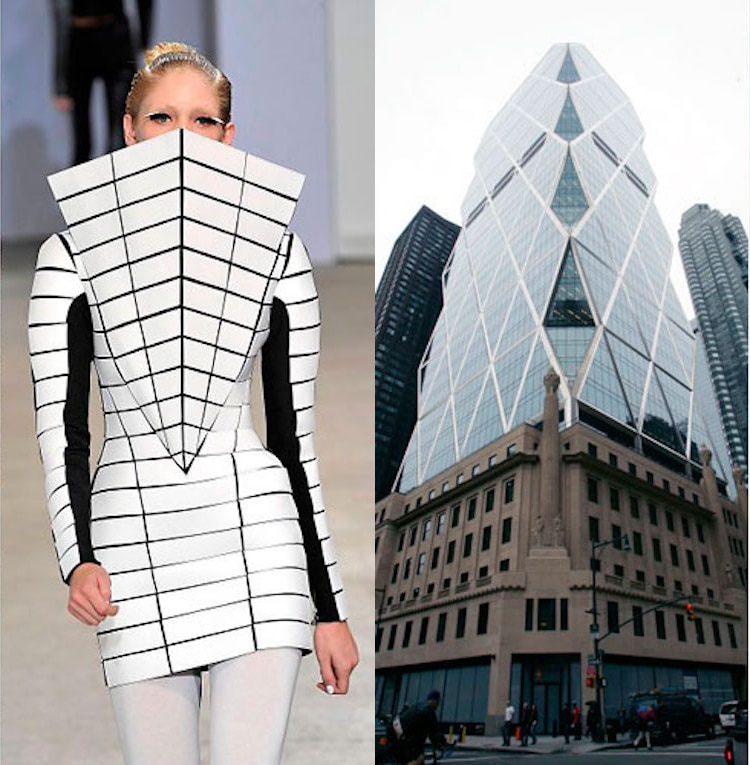 Geometrical dress, SS09, Gareth Pugh & Hearst building in San Francisco, Norman Foster