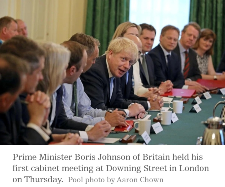 The British PM Boris Johnson held his first cabinet meeting at Downing Street in London on Thursday. Image © Aaron Chown