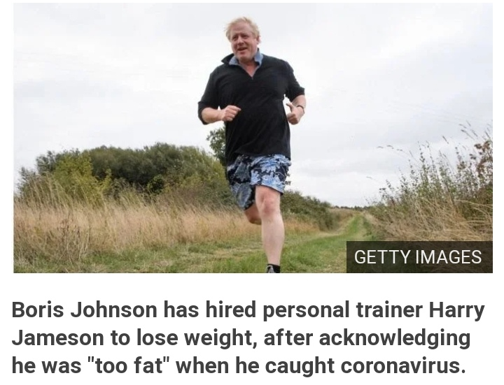 """Boris Johnson has hired personal trainer Harry Jameson to lose weight, after acknowledging he was """"too fat"""" when he caught coronavirus."""
