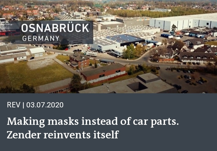 Making masks instead of auto parts. Zender reinvents itself. Image courtesy / DW tv