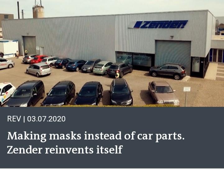Making masks instead of auto parts. Zender reinvents itself