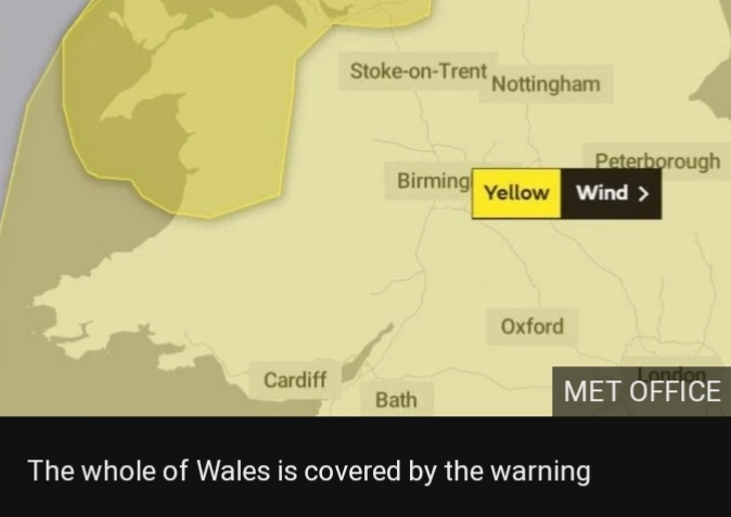"The whole of Wales is covered by warning. A MET Office spokesman said: ""Gusts"" are likely to reach 55-60 mph for quite a few places, exposed coasts and hills seeing gusts of around 70 mph."""