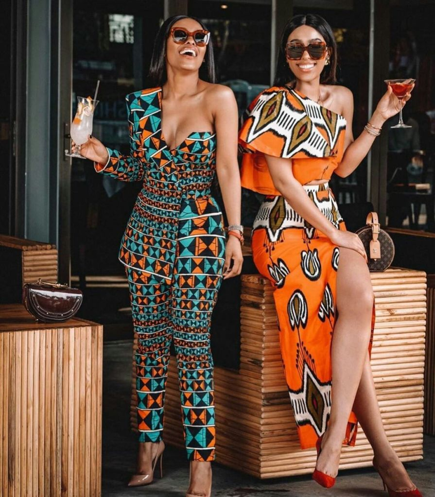 "AFRICAN PRINT CLOTHING'S. Stylish Ghanaian shorts and long ""Confidential Lady"" wear"