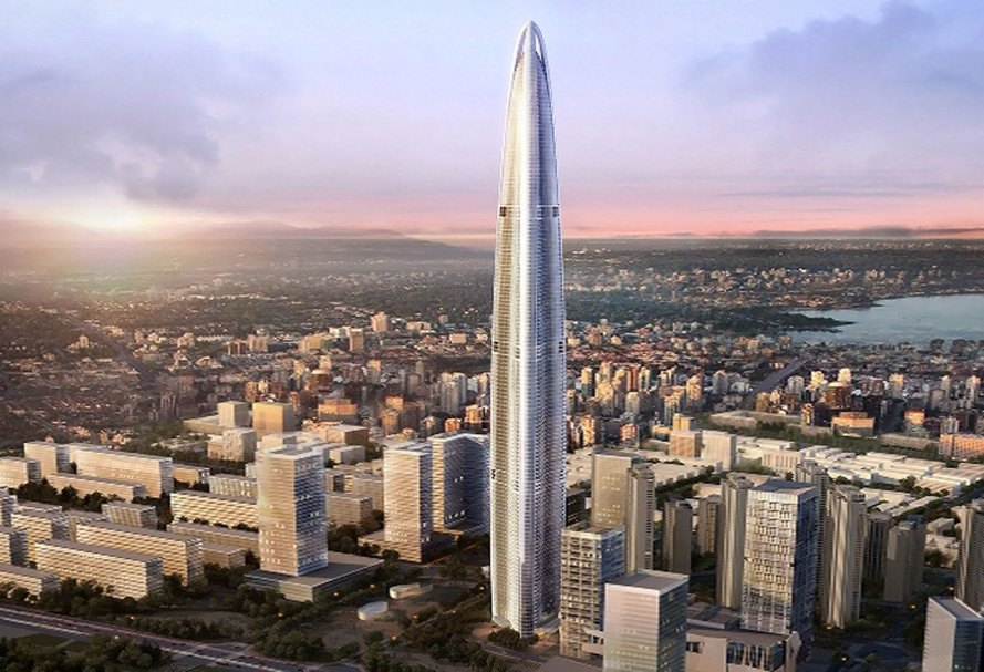 Eco-friendly megatall Wuhan Greenland skyscraper is under construction in Chin
