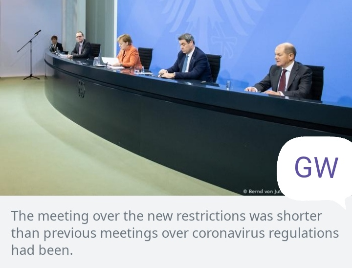 The meeting over the new restrictions was shorter than the previous meetings over coronavirus regulations had been