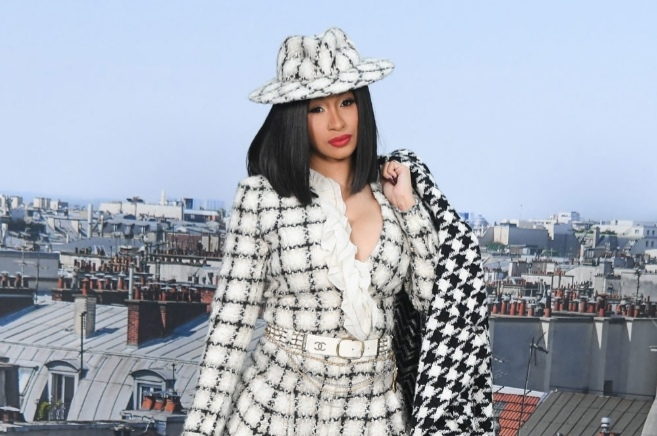 Cardi B attends the channel womenswear spring/summer 2020 as part of Paris Fashion week on October 1, 2019 in Paris