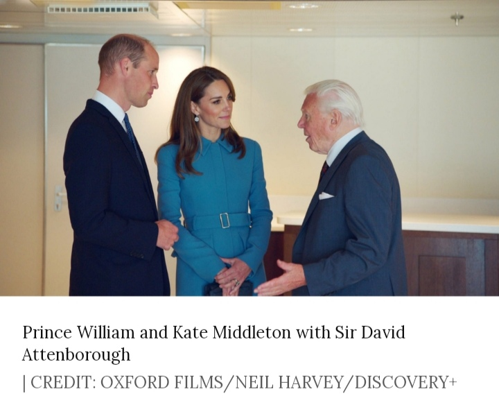 Prince William and Kate Middleton with Sir David Attenborough